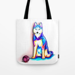 Husky with Paint Tote Bag