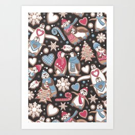 Penguin Christmas gingerbread biscuits Art Print