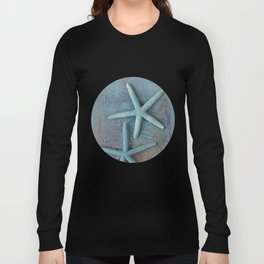 Turquoise Starfish on textured Background Long Sleeve T-shirt