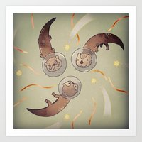 otters Art Prints featuring Astro Otters by opertura