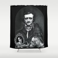 edgar allan poe Shower Curtains featuring Edgar Allan Poe Portrait by Eeriette