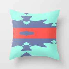Pastel Blues and Corals Aztec Throw Pillow