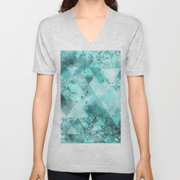 Triangles in aqua - Modern turquoise green blue triangle pattern Unisex V-Neck