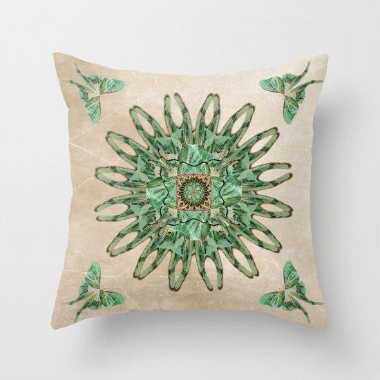 Luna Moth Circle  Throw Pillow