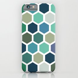 Green and blue honeycomb pattern iPhone Case