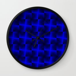 Rotated rhombuses of blue crosses with shiny intersections. Wall Clock