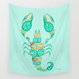 Scorpion – Turquoise & Gold Wall Tapestry