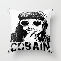 kurt cobain Throw Pillows featuring Vector Cobain by Emma Porter