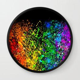 Black Rainbow Color Splatter Wall Clock