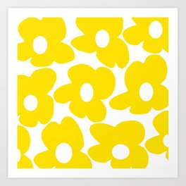 Large Yellow Retro Flowers on White Background #decor #society6 #buyart Art Print