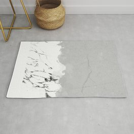 White marble spill on concrete Rug