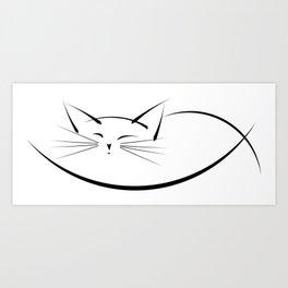 Cat Line Art Print