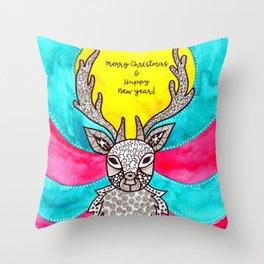Watercolor Art | Christmas Reindeer Throw Pillow