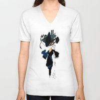 shopping V-neck T-shirts featuring shopping queen by Marie Elke Gebhardt