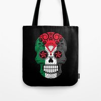 palestine Tote Bags featuring Sugar Skull with Roses and Flag of Palestine by Jeff Bartels