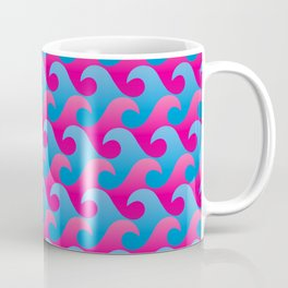Abstract Blue and Pink Ocean Wave Seamless Surf Pattern Coffee Mug