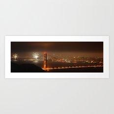 Fireworks over Golden Gate Bridge Art Print