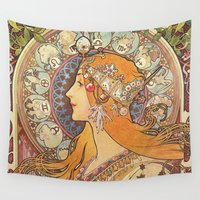 art nouveau Wall Tapestries featuring Art Nouveau by NELOS Cisneros