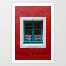The blue window and the red wall Art Print