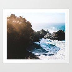 Cliff, Wave, and Beach Art Print