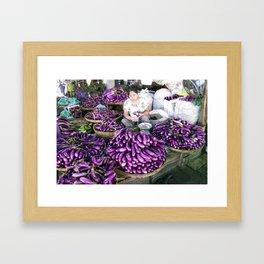 Eggplant Vendor, Myanmar Framed Art Print