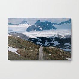 Caravan along a mountain road in Norway - Landscape Photography Metal Print