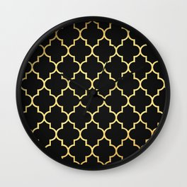 Black Gold Quattrefoil Wall Clock