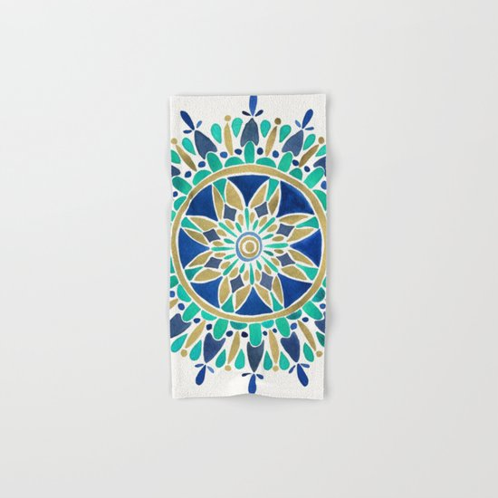 Mandala – Gold & Turquoise Hand & Bath Towel
