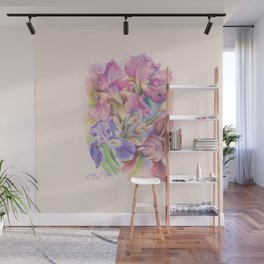 Iris Garden pastel drawing Wall Mural