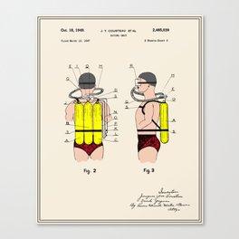 Jacques Cousteau Diving Gear Patent  Canvas Print