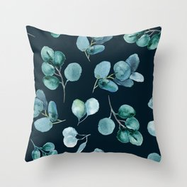 Midnight Leaves Pattern Throw Pillow