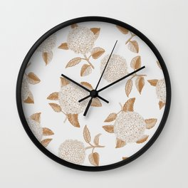 Classic, atermporal, elegant floral golden on off-white pattern.Vintage look. Big hydrangeas. Wall Clock