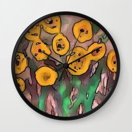 Painted Yellow Blooms on Rock Wall Clock