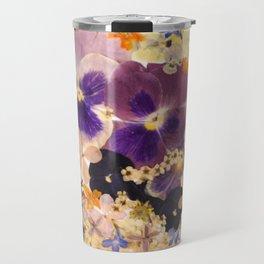 Floral elephant pressed flower art Travel Mug