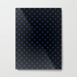 Brandeis Blue on Black Snowflakes Metal Print