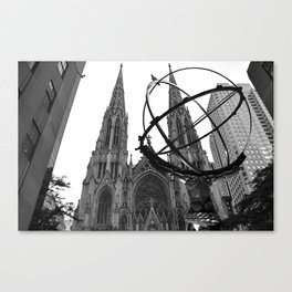 Atlas Statue and St. Patrick's (Black and White) Canvas Print