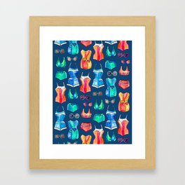 Sixties Swimsuits and Sunnies on dark blue Framed Art Print