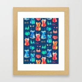 Sixties Swimsuits and Sunnies on dark blue Framed Art Print