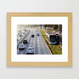 Cars and tram at seaside in Izmir (Turkey) Framed Art Print