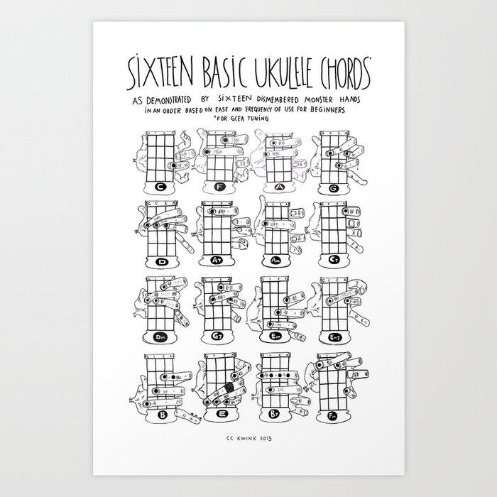 K W Ink Ukulele Chords Chart 16 Basic Art Print