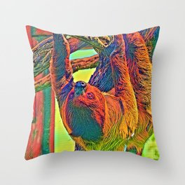 AnimalColor_Sloth_004_by_JAMColors Throw Pillow
