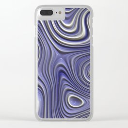 Violet Purple White Liquid Plastic 3D Swirl Waves Pattern Clear iPhone Case