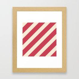 Antique White and Brick Red Stripes Framed Art Print