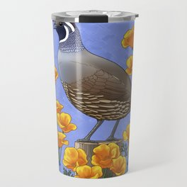 California State Bird Quail and Golden Poppy Travel Mug