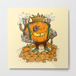 The Steampunk Pumpking Metal Print