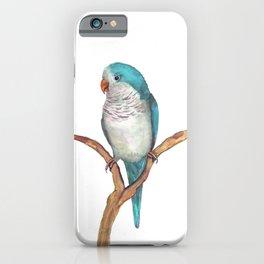 Blue quaker parrot watercolor iPhone Case