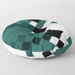 Emerald Green White Black Geometrical Pattern Floor Pillow