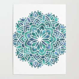 Mandala Succulent Blue Green Poster