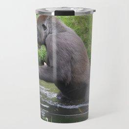 Gorilla Entering A Small Lake Travel Mug