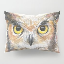 Owl Watercolor Great Horned Owl Painting Pillow Sham